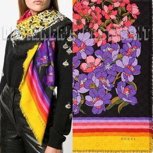 GUCCI colorful floral GG DEGRADE Wool Shawl scarf